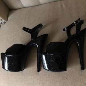 Pleaser black glitter high heels!